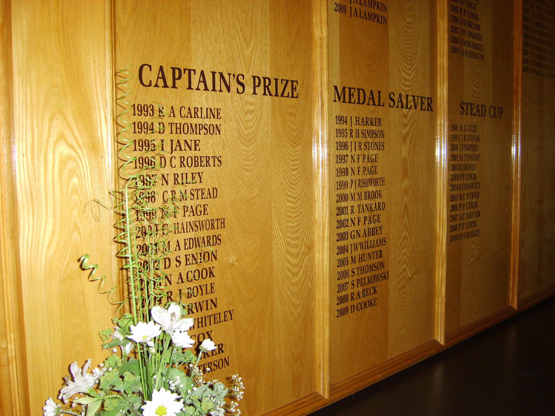 Bracken Ghyll honours boards