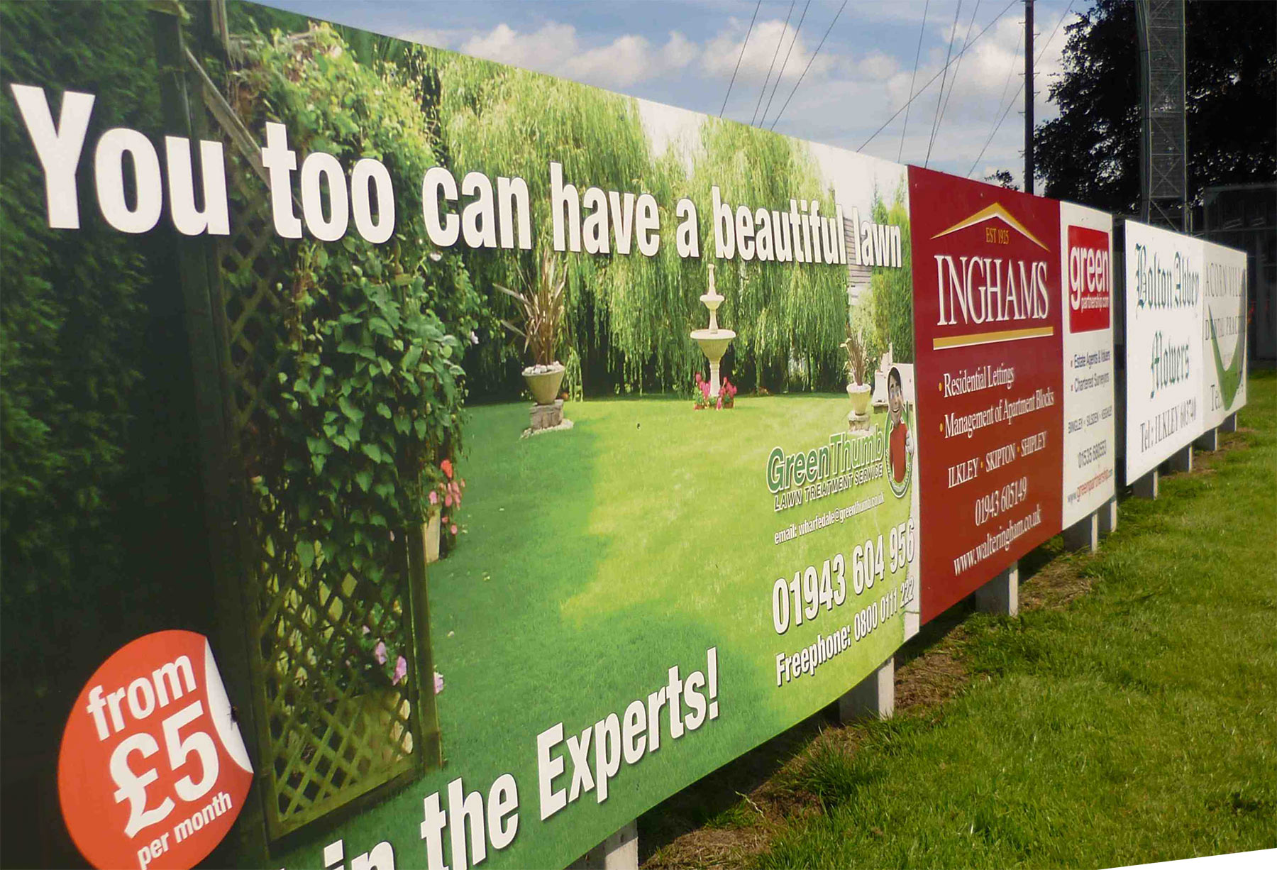 Sponsored sports club signs from Valley Signs